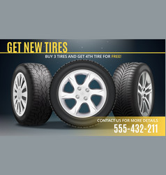 tire advertising realistic poster vector image