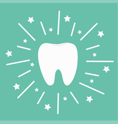 Tooth icon round line circle shining effect stars vector