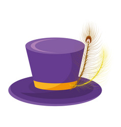 top hat with feather vector image