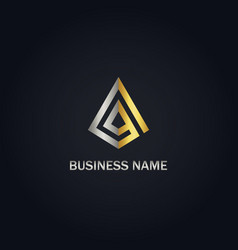Triangle line geometry gold logo vector
