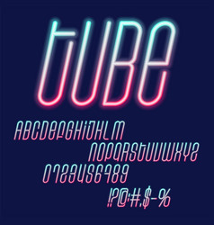 Tube neon font glowing green and pink capital vector