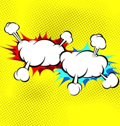 Two explosion cloud collision retro background vector