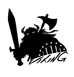 Viking with sword and shield vector