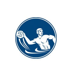 Water Polo Player Throw Ball Circle Icon vector image