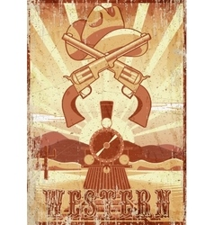 Western movie grunge vintage card or poster with vector image