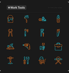 work tools thin line icons set vector image