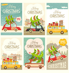 xmas posters winter holidays set vector image