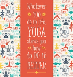 Yoga background with yogic quote vector