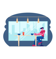 young male freelancer sitting front open laptop vector image