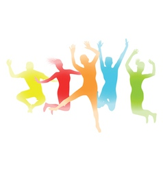 colourful jumping people vector image