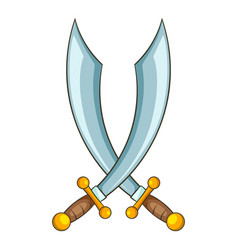 crossed pirate sabers icon cartoon style vector image