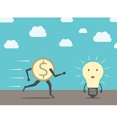 Dollar running to lightbulb vector image vector image