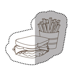 figure sandwich with fries french icon vector image vector image