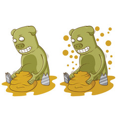 pig plays with mud vector image