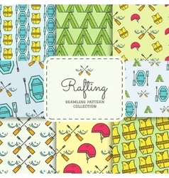 Rafting equipment seamless pattern collection vector image