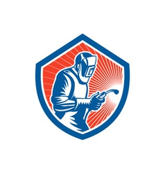 Welder Fabricator Welding Torch Side Shield Retro vector image vector image