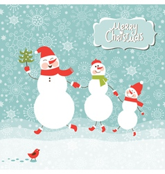 a family of three snowmen vector image