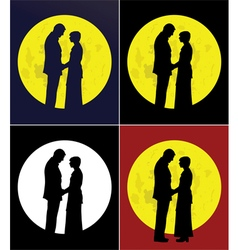Couple and full moon vector image vector image