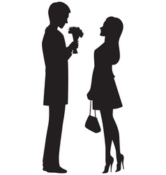 Silhouette of couple on a date vector