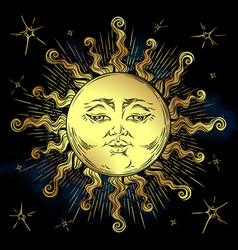 golden sun and stars vector image vector image