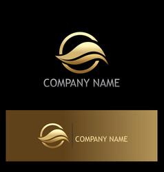 golden wave logo vector image