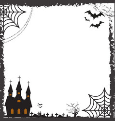 halloween square frame for text with cobweb bat vector image