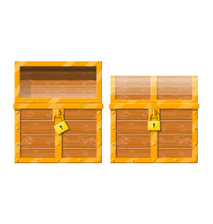 opened and closed chest with padlock vector image