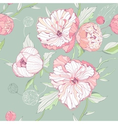 Seamless pastel colored pattern with peony flowers vector image vector image