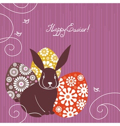 Background with Easter rabbit and eggs vector image vector image