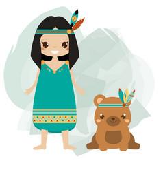 boho kid indian girl and tribal animal bear vector image