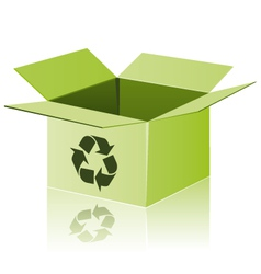 Green cardboard with recycle sign vector image