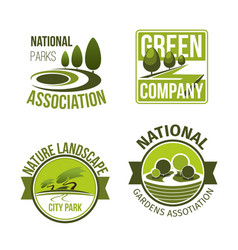green nature landscape design icons set vector image vector image