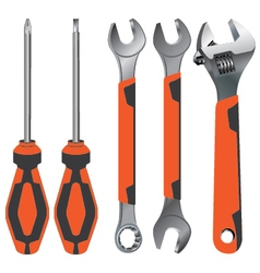 Hand tool Wrench and Screwdriver on a orange and vector image vector image