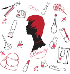 Set of various cosmetic items vector image vector image