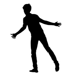 Silhouette man with divorced his hands to the vector image vector image