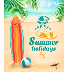 Summer holidays background surfing beach vector
