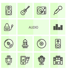 14 audio icons vector image