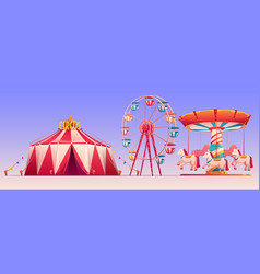 Amusement carnival park with circus tent clip art vector