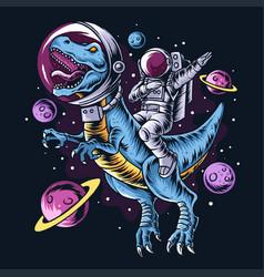 Astronaut drives t-rex dinosaurs vector