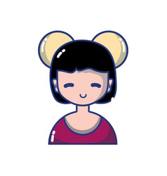 avatar girl with blouse and hairstyle design vector image