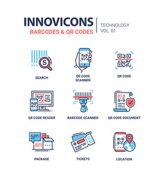 Barcodes and qr codes - line design icons set vector