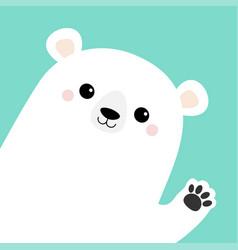 Big white polar bear waving hand paw print cute vector