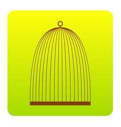 bird cage sign brown icon at green-yellow vector image