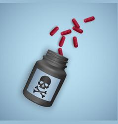 black bottle with poisonous pills a bottle vector image