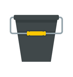 black bucket icon flat style vector image