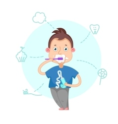 Boy brushing teeth vector image