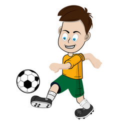 boy football player in a yellow shorts and a vector image