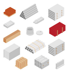 building and construction materials icon set vector image