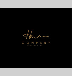 calligraphy signature letter hm logotype vector image