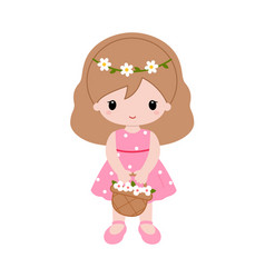 Cartoon girl with basket full of flowers vector